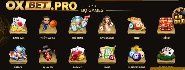 OXBET cung cấp đa dạng các sản phẩm trò chơi cá cược