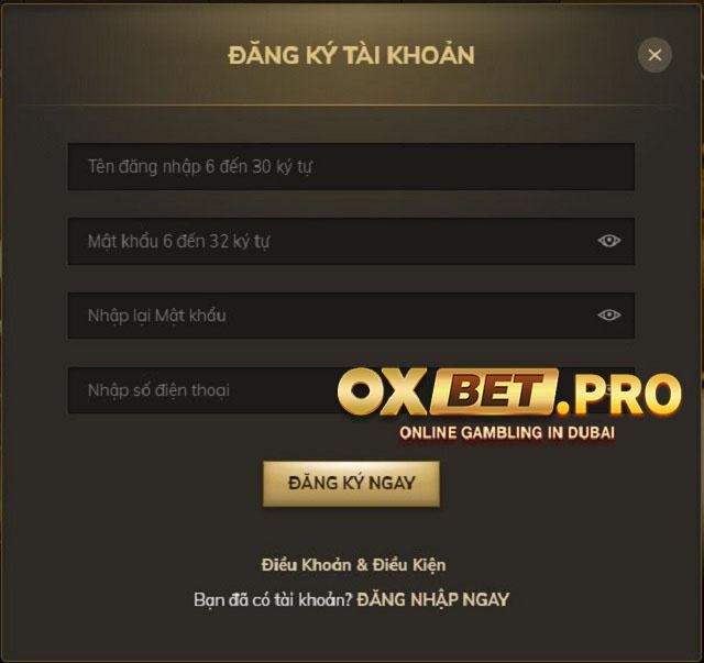 Biểu mẫu tạo tài khoản thành viên tại Oxbet